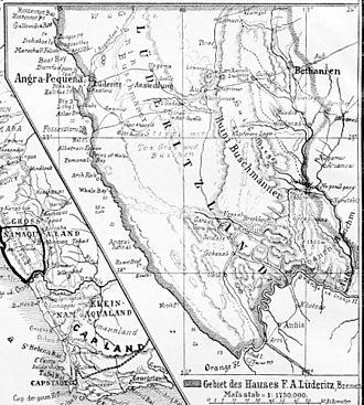 Adolf Lüderitz - Image: Deutsche kolonien 1885 ausschnitt lüderitzland