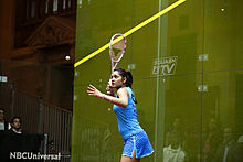 Dipika Pallikal (India) defeated Jaclyn Hawkes (New Zealand) in the women's semifinals 06.jpg