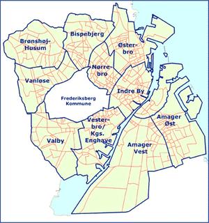 Districts of Copenhagen - The ten districts of Copenhagen, surrounding Frederiksberg
