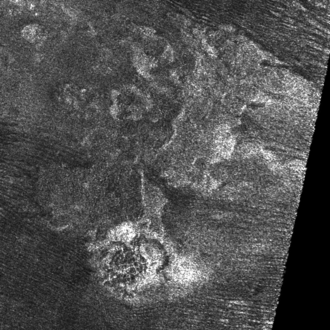 Doom Mons - Doom Mons with collapse feature Sotra Patera and flow feature Mohini Fluctus, the latter partially covered by dunes. Radar image by Cassini, 2007