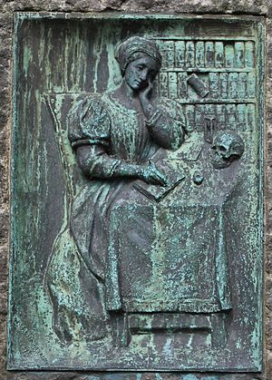 Dorothe Engelbretsdatter - Relief by Ambrosia Tønnesen at Bergen Cathedral