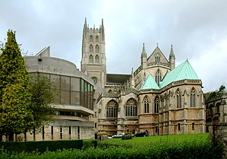 Downside Abbey - Abbey monastic basilica and library (left)