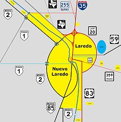Location of Downtown in Laredo, Texas
