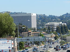 Downtown Hayward - Downtown Hayward, looking south on Foothill Boulevard, with the City Center Building (left)