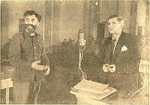 Trial of Mihailović et al. - Confrontation of Draža Mihailović and Dragi Jovanović on trial in Belgrade 1946.