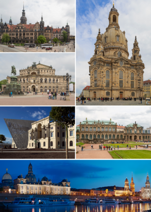 Counter-Clockwise: Dresden Frauenkirche, Dresden Castle, Semperoper, Bundeswehr Military History Museum, Zwinger and Brühl's Terrace.