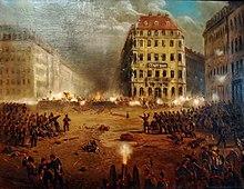 Preußischer Angriff auf die Barrikaden am Neumarkt im Zuge des Dresdner Maiaufstandes, Ölgemälde (Quelle: Wikimedia)