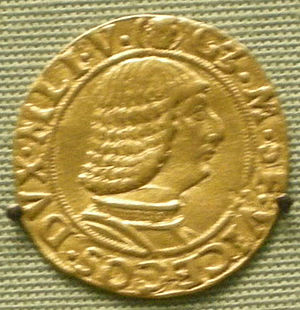 Zanetto Bugatto - Ducat coin of Galeazzo Maria Sforza, portrait arguably attributed to Zanetto Bugatto.