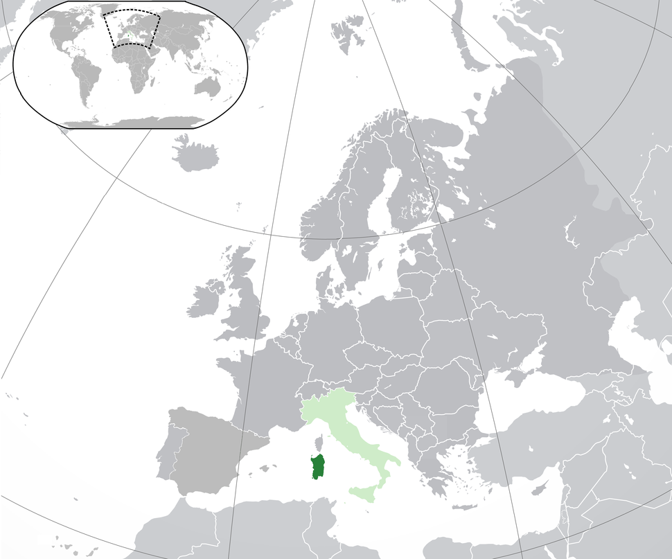 Location of  Sardinia  (dark green)– in Europe  (green & dark grey)– in Italy  (green)