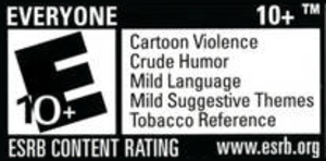 Entertainment Software Rating Board - A typical ESRB rating label, listing the rating and specific content descriptors for Rabbids Go Home.