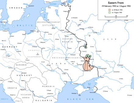 German advances at Kharkov and Kursk, 19 February 1943 to 1 August 1943: to 18 March 1943 to 1 August 1943 Eastern Front 1943-02 to 1943-08.png