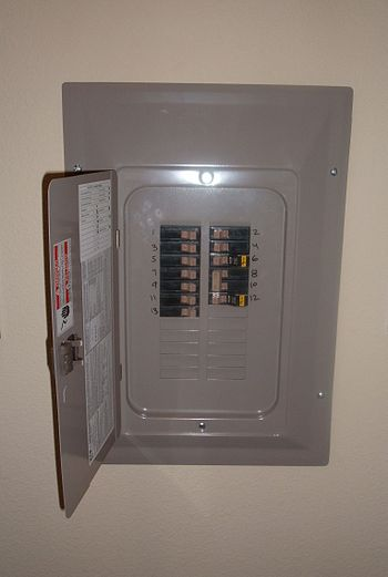 An open Eaton circuit breaker panel