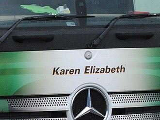 """Eddie Stobart Logistics - """"Karen Elizabeth"""" Mercedes-Benz Actros truck in 2013"""