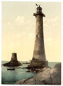 Eddystone lighthouse in the late 19th century.