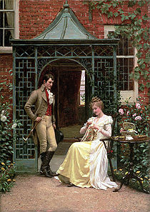 A Regency era man stands near a sitting woman, preparing to propose marriage