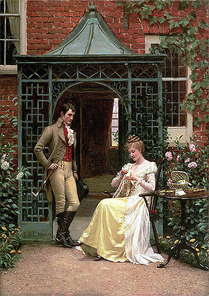 "Georgette Heyer - Edmund Blair Leighton painted ""On the Threshold (of a Proposal)"", now in Manchester Art Gallery. It depicts a courtship in Regency England, similar to those described in Heyer's historical romances."