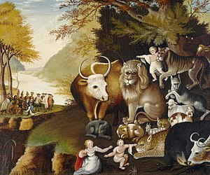 Holy Experiment - Edward Hicks, The Peaceable Kingdom (c. 1834) showing William Penn treating with Native Americans, and the lion sitting down with the lambs