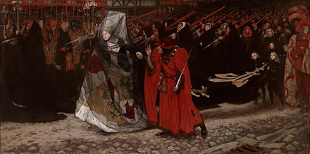 Richard, Duke of Gloucester and the Lady Anne by Edwin Austin Abbey. Edwin Austin Abbey richard duke of gloucester and the lady anne 1896.jpg