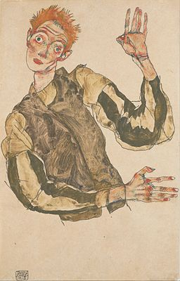 Egon Schiele - Self-Portrait with Striped Armlets - Google Art Project