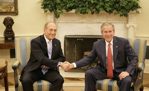 Ehud Olmert and George Bush 2
