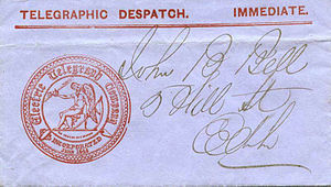Electric Telegraph Company - Part of a document showing the company seal.
