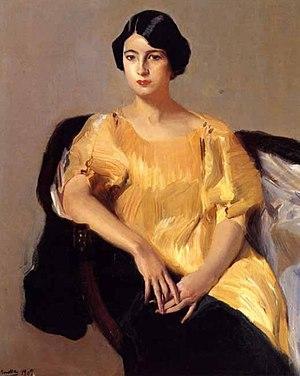 Delphos gown - Elena vestida con túnica amarilla by Joaquín Sorolla, 1909. Elena Sorolla Garcia in a yellow Delphos.