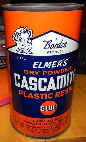 """Elmer's Products - Elmer's Cascamite Glue. """"Easy to mix, dry powder urea resin glue, for wood, fiberboard, and other porous materials"""" had to be mixed with water."""