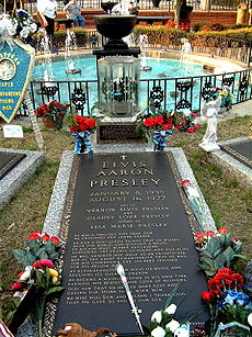 Elvis Presley's final resting place at Graceland.