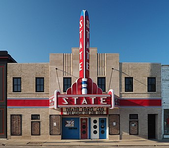 Ely State Theater, 234 E Sheridan St, Ely, Minnesota, USA. Viewed from the north.