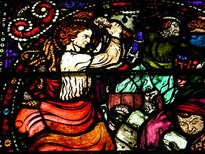 Emanuel Vigeland - Detail from stained glass in Oslo Cathedral depicting Jesus overturning the tables of the money-changers in the Temple