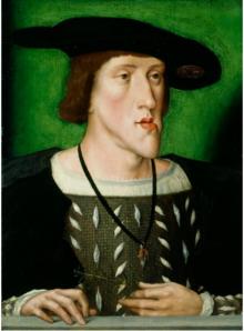 Das Gemälde Karls um 1514/16 zeigt deutlich dessen Habsburger Unterlippe (Quelle: Wikimedia)