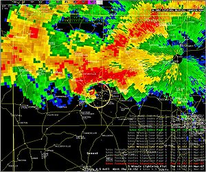 Tornado outbreak of February 28 – March 2, 2007 - Radar image of the supercell responsible for producing the Enterprise tornado on March 1