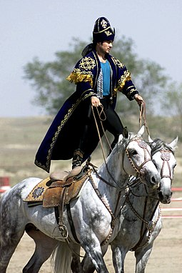 A Kazakhstan performer demonstrates the long equestrian heritage as part of the gala concert during the opening ceremonies of the Central Asian Peacekeeping Battalion Equestrian heritage, Kazakhstan.JPEG