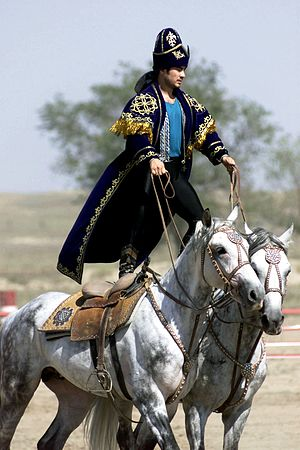A Kazakhstan performer demonstrates the long equestrian heritage as part of the gala concert during the opening ceremonies of the Central Asian Peacekeeping Battalion. Equestrian heritage, Kazakhstan.JPEG