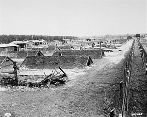 Kaufering concentration camp - View of huts after the liberation of Kaufering, April 1945.