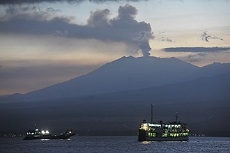 Banyuwangi Regency - Image: Eruption of Raung Volcano (2015) from Bali strait at dawn