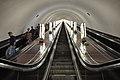 Escalators at the deepest metro station of the world Arsenalna (105.5m) (8601894844).jpg