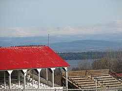 Essex County Fairgrounds in Westport, with Lake Champlain and Vermont in the background