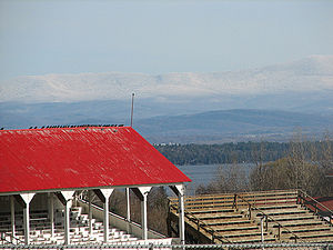 Westport, New York - Essex County Fairgrounds in Westport, with Lake Champlain and Vermont in the background