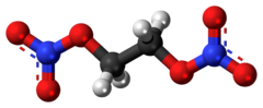Ball-and-stick model of the ethylene glycol dinitrate molecule