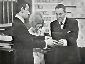 "Yé-yé - Serge Gainsbourg, France Gall and Mario del Monaco at the Eurovision Song Contest 1965, where ""Poupée de cire, poupée de son"" took the award."