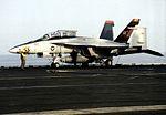 F-18F of VFA-11 on USS Enterprise (CVN-65) 2012.jpg