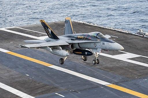 FA-18C Hornet of VFA-83 landing on USS Harry S. Truman (CVN-75) in November 2015