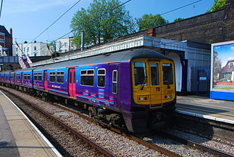Kentish Town station - First Capital Connect train with a southbound Thameslink service.