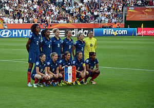 France women's national football team - The French team at the 2011 Women's World Cup prior to the 2–4 first round loss to Germany on 5 July 2011.