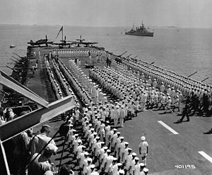 HMS Ocean (R68) - The Minister of Defence, Earl Alexander, inspects HMS Ocean off Korea in 1952.
