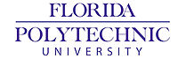"Florida, Polytechnic, & University on three lines, center aligned and in purple. Florida & Polytechnic are separated by a horizontal bar (the width of ""Polytechnic""), written in bold, and a slightly larger font size than ""University""."