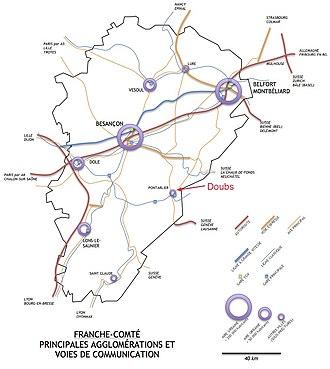 carte de la Franche-Comté présentant les principales aires urbaines et les voies de communication de la région