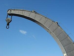 Box girder - The patent curved and tapered box girder jib of a Fairbairn steam crane