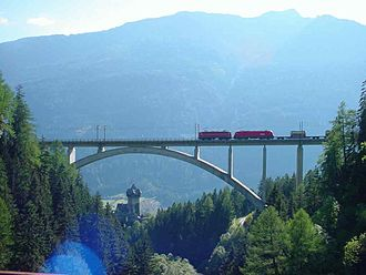 Tauern Railway - Falkenstein Bridge and Falkenstein Castle near Obervellach, Carinthia